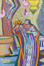 Saint peter with keys beautiful old colorful tile mosaic depicting holding the to the church Stock Photos