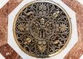 Saint Peter`s Basilica art on the floor inside the basilica. Royalty Free Stock Photo