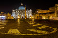 Saint Peter Square and Saint Peter Basilica at Night Royalty Free Stock Photo