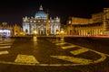 Saint Peter Square and Saint Peter Basilica at Night