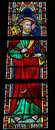 Saint peter stained glass window depicting in the church of our lady in truiden belgium Stock Images
