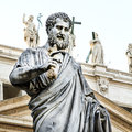 Saint peter th century statue by giuseppe de fabris showing the apostle in st s square in the vatican city rome Stock Images
