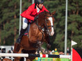 Saint petersburg july lubomir lalov on del re in the csi w csiyh international jumping grand prix fei world cup competition cm Stock Photo