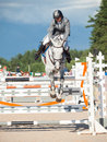 Saint petersburg july maxim kryna on challenger in the cs csi w csiyh international jumping grand prix fei world cup competition Royalty Free Stock Images