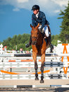 Saint petersburg july rider aleksandr belekhov on coyote ugl ugly in the csi w csiyh international jumping grand prix fei world Stock Photo