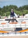 Saint petersburg july rider aleksandra pushkarskaya on corin corinte in the csi w csiyh international jumping grand prix fei world Royalty Free Stock Photography