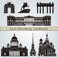 Saint petersburg landmarks and monuments on blue background in editable vector file Royalty Free Stock Photos