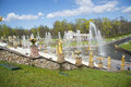 SAINT PETERSBURG, PETERGOF, RUSSIA - May 9, 2015: Fountains of Lower Gardens, Sea Canal in Peterhof, near Saint Petersburg. Royalty Free Stock Photo