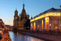 Saint petersburg russia church on spilled blood or resurrection church of our saviour in on griboedova canal at twilight during Royalty Free Stock Photography