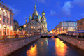 Saint petersburg russia church on spilled blood or resurrection church of our saviour in on griboedova canal at twilight during Stock Photo