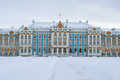 SAINT PETERSBURG, RUSSIA - FEBRUARY 08, 2015:The facade of the Catherine Palace gloomy February day. Tsarskoye Selo Royalty Free Stock Photo
