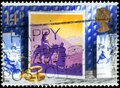 Saint Petersburg, Russia - March 21, 2020: Postage stamp issued in the United Kingdom with the image of Journey to Bethlehem, Royalty Free Stock Photo