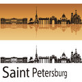 Saint petersburg skyline in orange background editable vector file Royalty Free Stock Photography