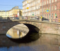 Saint petersburg stone bridge juy on griboedov canal july in built in Stock Photo