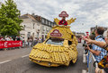 Saint quentin france july th banette s fancy vehicle during the passing of publicity caravan in saint quentin during the stage th Stock Photos