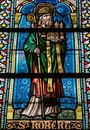 Saint robert stained glass window depicting in the cathedral of spa wallonia belgium Royalty Free Stock Photos
