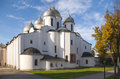Saint sophia cathedral at novgorod kremlin in sunny autumn day russia Stock Photography