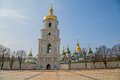 Saint sophia cathedral tower at sofiiska square Royalty Free Stock Photos