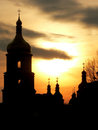Saint sophias cathedral silhouette at the sunset kyiv ukraine Stock Image