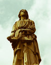 Saint stares into the heavens statue of a looks high Stock Images