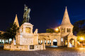 Saint stephen monument in night budapest equestrian statue and of erected by architect frigyes schulek hungary Stock Images