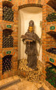 Saint Urban carved statue from interior of wine cellar of great Slovak producer. Royalty Free Stock Photos