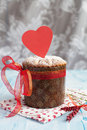 Saint Valentine's cake with red heart (panettone) Stock Photos