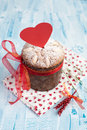 Saint Valentine's cake with red heart (panettone) Royalty Free Stock Image