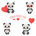 Saint Valentine's Day cute web icons with panda in love