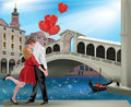 Saint valentine in venice romantic couple with the rialto bridge ideal for s day Stock Image