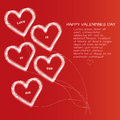 Saint valentines day card with five line hearts with text sample Royalty Free Stock Images