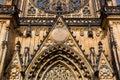 Saint Vitus Cathedral facade closeup view, Prague Royalty Free Stock Photo