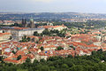 Saint vitus cathedral and prague castle view from petrin lookou lookout tower Royalty Free Stock Images