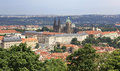 Saint vitus cathedral and prague castle view from petrin lookout tower Stock Photo