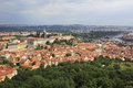 Saint vitus cathedral and prague castle view from petrin lookout tower Stock Images