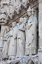 Saints on fasade of the notre dame de paris france Stock Photo