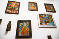 Saints on icons wall full of religious painted with Royalty Free Stock Photo