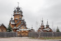 Saints monastery svyatogorskaya laurels ukraine the church was built of logs Royalty Free Stock Photography