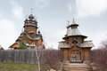 Saints monastery svyatogorskaya laurels ukraine the church was built of logs Stock Photo
