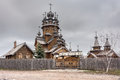 Saints monastery svyatogorskaya laurels ukraine the church was built of logs Royalty Free Stock Photo
