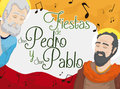 Saints Peter and Paul Celebrating Colombian Feast Days with Music, Vector Illustration