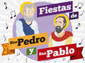 Saints Peter and Paul Celebrating with Music their Feast Days, Vector Illustration