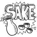 Sake alcohol sketch Royalty Free Stock Image