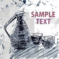 Sake bottle and cups vector drawings on table hand drawing illustration Stock Photo