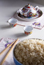 Sake Set with Rice Royalty Free Stock Images