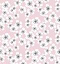 Sakura blossom seamless pattern on pale pink background.