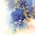 Sakura branches in bloom watercolor background