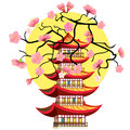Sakura cherry Chinese pagoda five levels. Vector illustration Royalty Free Stock Photo