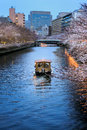 Sakura festival tourist viewing cherry blossom on boat tokyo japan Royalty Free Stock Photos