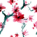 Sakura flower watercolor and ink illustration in style sumi e u sin oriental traditional painting seamless pattern Stock Photography